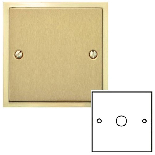 1 Gang 2 Way Push On/Off Dimmer Switch 400W in Satin Brass Plate with Polished Brass Edge and Dimmer Knob, Elite Stepped Flat Plate