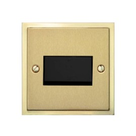 6A Triple Pole Fan Isolating Switch in Satin Brass Plate with Polished Brass Edge and Black Rocker and Trim, Elite Stepped Flat Plate