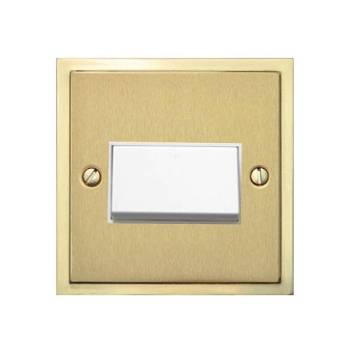 6A Triple Pole Fan Isolating Switch in Satin Brass Plate with Polished Brass Edge and White Rocker and Trim, Elite Stepped Flat Plate