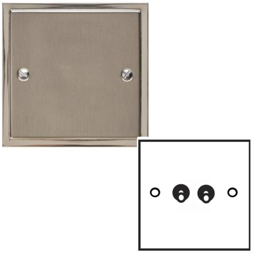 2 Gang 2 Way 20A Dolly Switch in Satin Nickel Elite Stepped Flat Plate with Polished Nickel Edge and Dolly