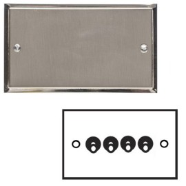 4 Gang 2 Way 20A Dolly Switch in Satin Nickel Elite Stepped Flat Plate with Polished Nickel Edge and Toggle