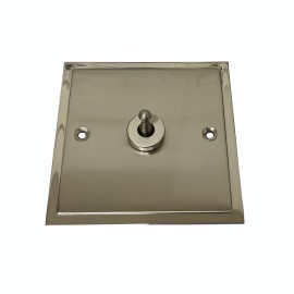1 Gang Intermediate 20A Dolly Switch in Satin Nickel Elite Stepped Flat Plate with Polished Nickel Edge and Dolly