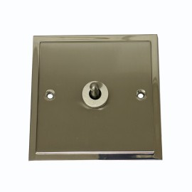 1 Gang 2 Way 20A Dolly Switch in Satin Nickel Elite Stepped Flat Plate with Polished Nickel Edge and Dolly
