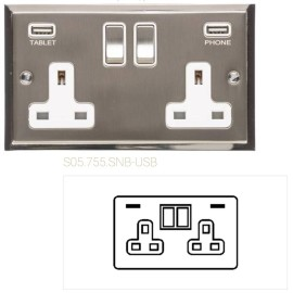 2 Gang 13A Socket with 2 USB Sockets Satin Nickel Elite Stepped Flat Plate with Polished Nickel Edge and Rockers with Black Plastic Insert
