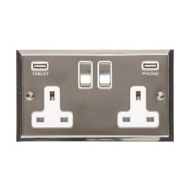 2 Gang 13A Socket with 2 USB Sockets Satin Nickel Elite Stepped Flat Plate with Polished Nickel Edge and Rockers with White Plastic Insert