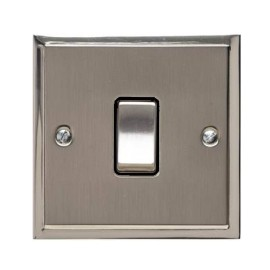 1 Gang 20A Double Pole Switch in Satin Nickel with Polished Nickel Edge and Rocker and Black Trim, Elite Stepped Flat Plate