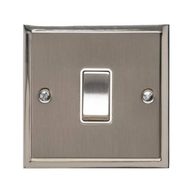 1 Gang 20A Double Pole Switch in Satin Nickel with Polished Nickel Edge and Rocker and White Trim, Elite Stepped Flat Plate