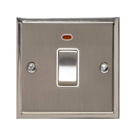 1 Gang 20A Double Pole Switch with Neon in Satin Nickel with Polished Nickel Edge and Rocker and White Trim, Elite Stepped Flat Plate