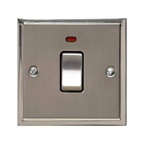 1 Gang 20A Double Pole Switch with Neon in Satin Nickel with Polished Nickel Edge and Rocker and Black Trim, Elite Stepped Flat Plate