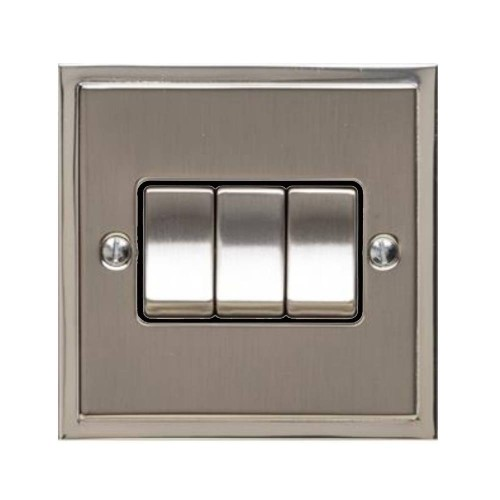 3 Gang 2 Way 10A Rocker Switch in Satin Nickel with Polished Nickel Edge and Rocker and Black Trim, Elite Stepped Flat Plate