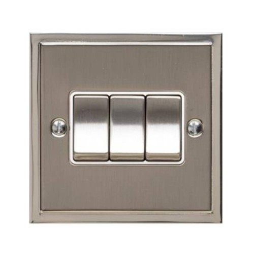 3 Gang 2 Way 10A Rocker Switch in Satin Nickel with Polished Nickel Edge and Rocker and White Trim, Elite Stepped Flat Plate