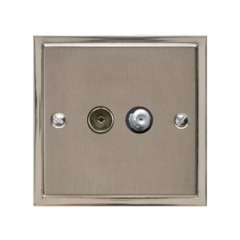 TV / Satellite Socket in Satin Nickel Plate with Polished Nickel Edge and Black Trim, Elite Stepped Flat Plate
