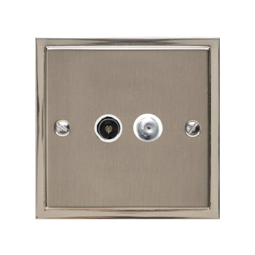 TV / Satellite Socket in Satin Nickel Plate with Polished Nickel Edge and White Trim, Elite Stepped Flat Plate