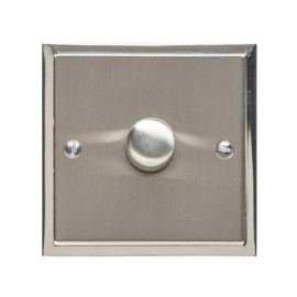 1 Gang 2 Way Trailing Edge LED Dimmer 10-120W in Satin Nickel Plate with Polished Nickel Edge and Dimmer Knob, Elite Stepped Flat Plate
