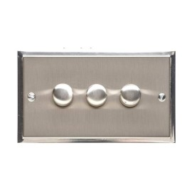 3 Gang 2 Way Trailing Edge LED Dimmer 10-120W in Satin Nickel Plate with Polished Nickel Edge and Dimmer Knobs, Elite Stepped Flat Plate