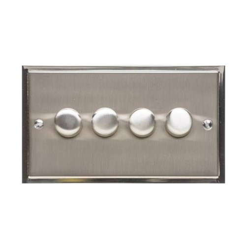 4 Gang 2 Way Trailing Edge LED Dimmer 10-120W in Satin Nickel Plate with Polished Nickel Edge and Dimmer Knobs, Elite Stepped Flat Plate
