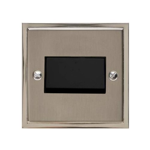 6A Triple Pole Fan Isolating Switch in Satin Nickel Plate with Polished Nickel Edge and Black Rocker and Trim, Elite Stepped Flat Plate