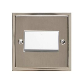 6A Triple Pole Fan Isolating Switch in Satin Nickel Plate with Polished Nickel Edge and White Rocker and Trim, Elite Stepped Flat Plate