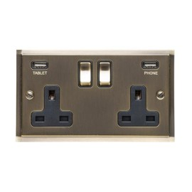 2 Gang 13A Socket with 2 USB Sockets Elite Stepped Flat Antique Brass Plate and Rockers with Black Insert