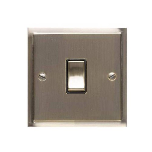 1 Gang 20A Double Pole Switch in Antique Brass and Black Trim Elite Stepped Flat Plate
