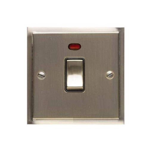 1 Gang 20A Double Pole Switch with Neon in Antique Brass and Black Trim Elite Stepped Flat Plate