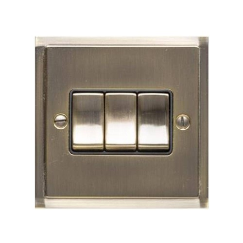3 Gang 2 Way 10A Rocker Switch in Antique Brass and Black Trim Elite Stepped Flat Plate
