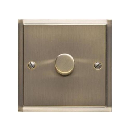 1 Gang 2 Way Push On/Off Dimmer 400W in Antique Brass Elite Stepped Plate