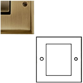 2 Gang Euro Module Stepped Plate in Antique Brass Elite with Black Insert (Plate Only)