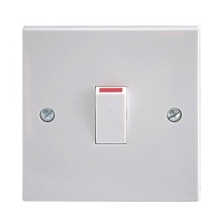 1 Gang 20A Double Pole Switch in White Plastic Square Edge - the Best Price!