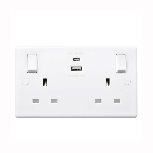2 Gang 13A Socket with 4.2V A-type and C-type USB Charger White Moulded Plastic BG Nexus 822UAC