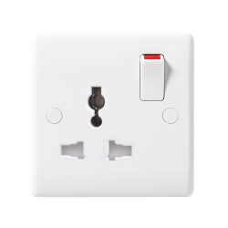 BG Nexus 827 1 Gang Switched Universal Socket Rounded Edge White Moulded Plastic for Export Only