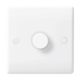 1 Gang 2 Way Leading Edge Dimmer 60-400W Halogen, LED Compatible 5-50W in White Plastic Rounded Edge