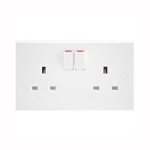 2 Gang 13A Switched Double Socket Square Edge White Plastic - buy 50 for £65 + VAT!