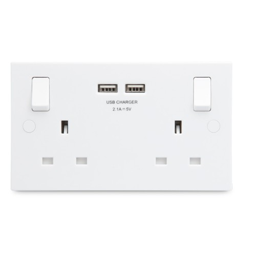 2 Gang 13A Socket with 2 USB Sockets in Square Edge White Plastic BG Electrical 922U