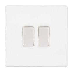 White Screwless 2 Gang 2 Way 10A Rocker Switch with White Insert, Hartland CFX 7WCR22WH-W