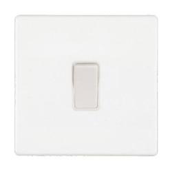 White Screwless 1 Gang 10A Intermediate Single Switch White Insert, Hartland CFX 7WCR31WH-W
