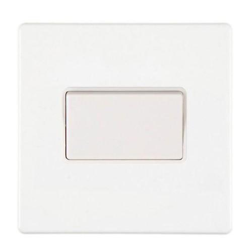 White Screwless 1 Gang 10A Fan Isolator Switch Triple Pole White Insert, Hartland CFX 7WCTPWH-W