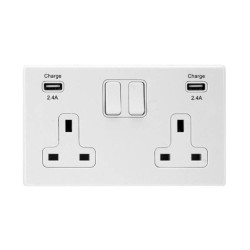 Hamilton Screwless 2 Gang 13A Switched Socket with 2 x 2.4A USB Socket Outlet CFX White Plastic White Trim 7WCSS2USBULTWH-W