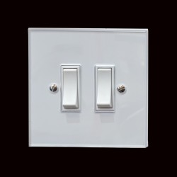 2 Gang 2 Way 20A Rocker Switch in White Plastic with White Trim Perspex Clear Plate
