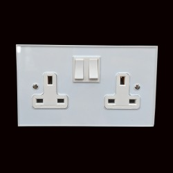 2 Gang 2 Way 13A Double Socket White Plastic Rocker and Trim on Perspex Clear Plate