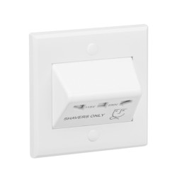 1 Gang Shaver Socket with Standard White Front Plate IP41, Dual Voltage Single Shaver Socket