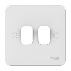 Lisse 2 Gang Grid Cover Plate Single Size Plate in White Moulded, Schneider GGBL02G