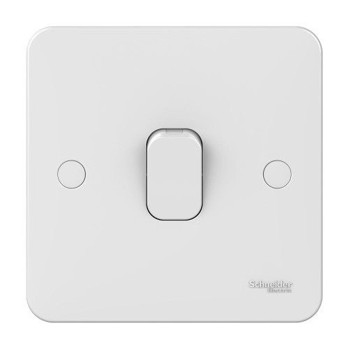Lisse 1 Gang 1 Way 10AX Plate Switch in White Moulded, Schneider GGBL1011 Single Switch