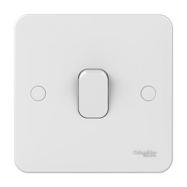 Lisse 1 Gang Intermediate 10AX Plate Switch in White Moulded, Schneider GGBL1014 Single Switch