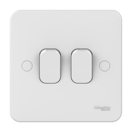 Lisse 2 Gang 2 Way 10AX Plate Switch in White Moulded, Schneider GGBL1022 Double Switch