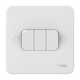 Lisse 3 Gang 2 Way 10AX Plate Switch in White Moulded, Schneider GGBL1032 Triple Switch