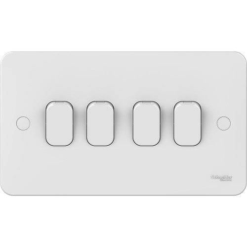 Lisse 4 Gang 2 Way 10AX Plate Switch in White Moulded, Schneider GGBL1042 4G Switch