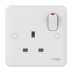 Lisse 1 Gang 13A Switched Socket in White Moulded, Schneider GGBL3010 Single Socket
