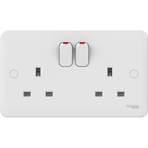 Lisse 2 Gang 13A Switched Socket in White Moulded, Schneider GGBL3020 Double Socket