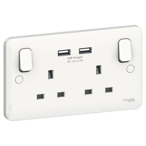 Lisse 2 Gang 13A Switched Socket with 2 USB Charger 5V 2.1A in White Moulded, Schneider GGBL30202USBS USB Socket